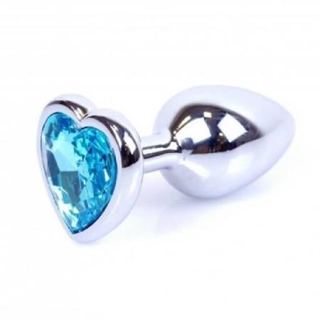 Korek analny stalowy z kryształem niebieskim zakończony sercem
