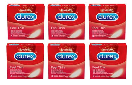 Prezerwatywy Durex - Feel Thin 3 szt - 6 opakowań